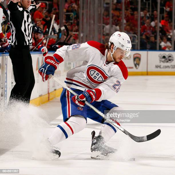 Nathan Beaulieu of the Montreal Canadiens skates with the puck against the Florida Panthers at the BBT Center on April 3 2017 in Sunrise Florida