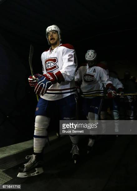 Nathan Beaulieu of the Montreal Canadiens walks to the ice prior to Game Six against the New York Rangers of the Eastern Conference First Round...