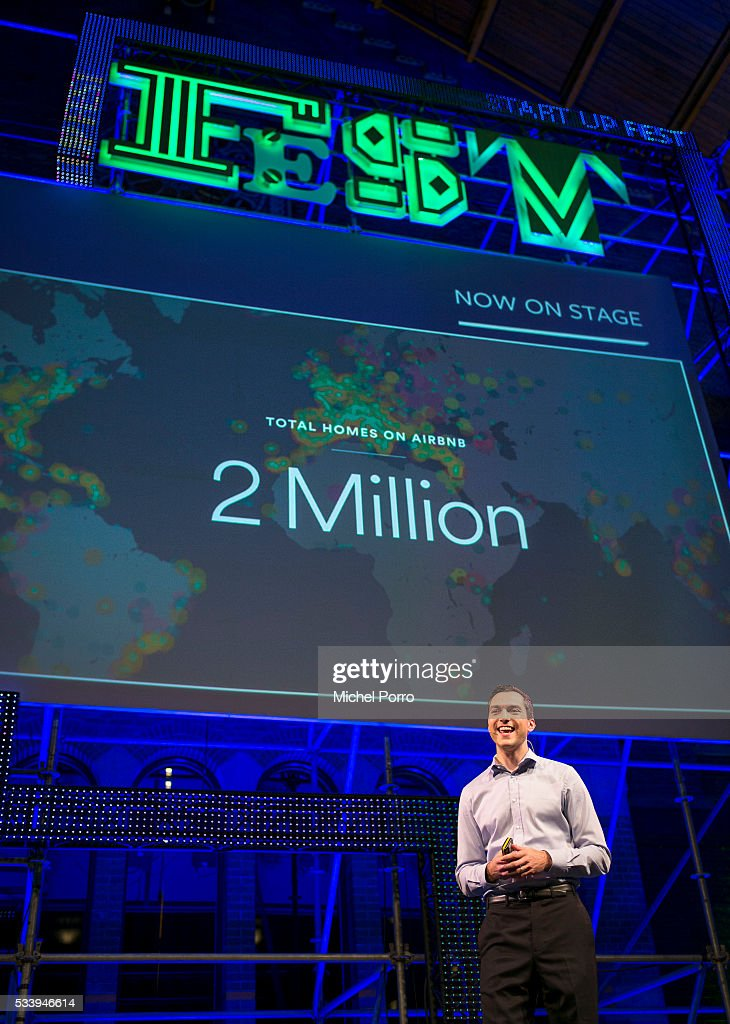 Nathan Blecharczyk, CEO Airbnb, talks about his world wide expansion plans during the kick-off of Startup Fest Europe on May 24, 2016 in Amsterdam, The Netherlands. The event facilitates match-making between investors and startup entrepreneurs from all over the world.