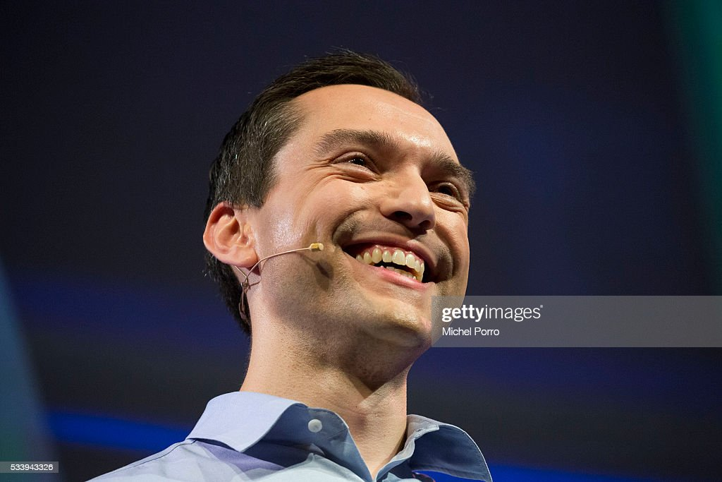 Nathan Blecharczyk, CEO of Airbnb, laughs out loud because a conference goer continues to ask him about new Airnbn features that remain undisclosed for now, during the kick-off of Startup Fest Europe on May 24, 2016 in Amsterdam, The Netherlands. The event facilitates match-making between investors and startup entrepreneurs from all over the world.