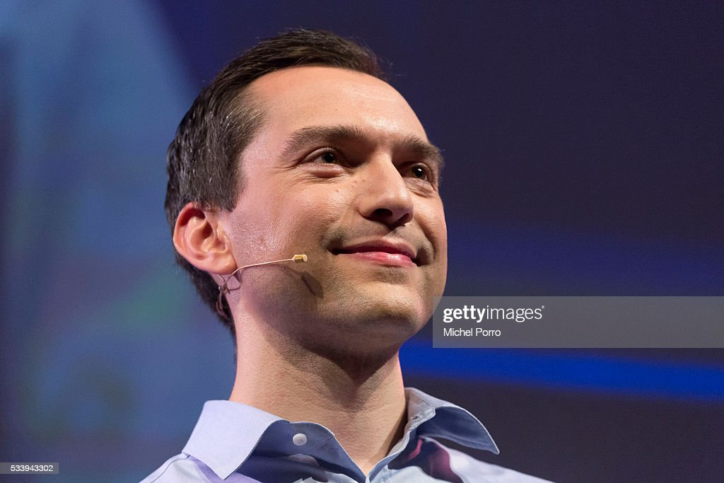 Nathan Blecharczyk, CEO of Airbnb, listens to a question of a conference goer during the kick-off of Startup Fest Europe on May 24, 2016 in Amsterdam, The Netherlands. The event facilitates match-making between investors and startup entrepreneurs from all over the world.