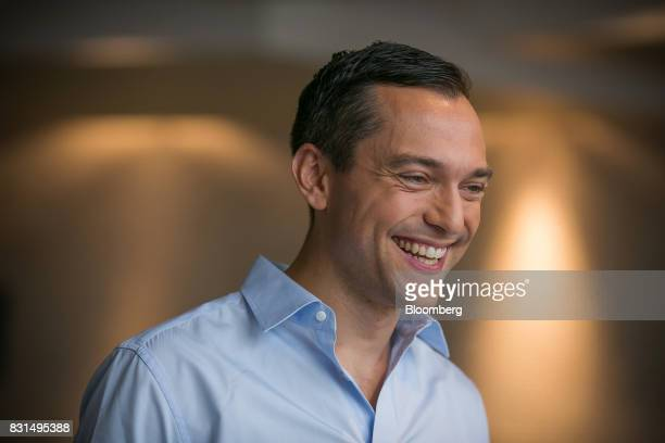 Nathan Blecharczyk cofounder and chief technology officer of Airbnb Inc reacts during a Bloomberg Television interview in Singapore on Tuesday Aug 15...