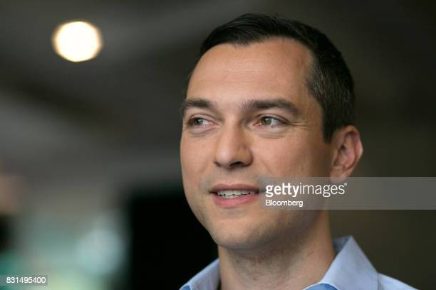 Nathan Blecharczyk cofounder and chief technology officer of Airbnb Inc speaks during a Bloomberg Television interview in Singapore on Tuesday Aug 15...