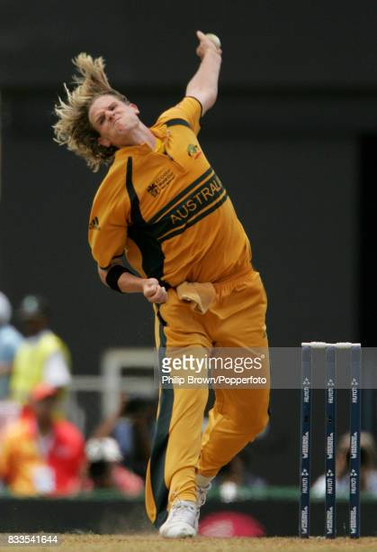 Nathan Bracken bowling for Australia during the World Cup Semi Final between Australia and South Africa at Beausejour Stadium Gros Islet St Lucia...
