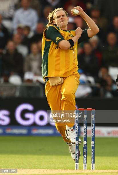 Nathan Bracken bowls during the ICC World Twenty20 match between Australia and Sri Lanka at Trent Bridge on June 8 2009 in Nottingham England