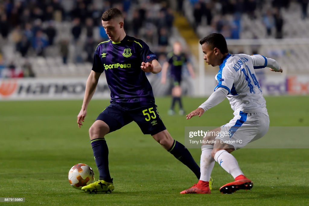 Nathan Broadhead of Everton during the UEFA Europa League Group E match between Apollon Limassol and Everton at GSP Stadium on December 7, 2017 in Nicosia, Cyprus.