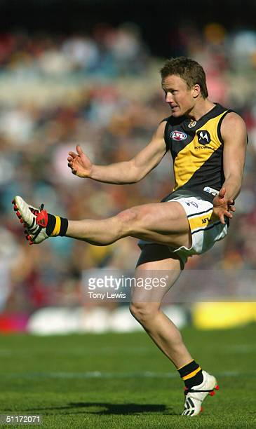 Nathan Brown for Richmond in action in the AFL Round 20 match between the Adelaide Crows and the Richmond Tigers at AAMI Stadium on August 15 2004 in...