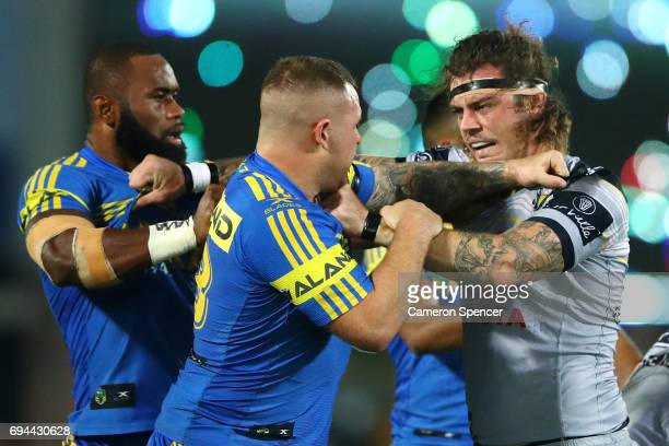 Nathan Brown of the Eels and Ethan Lowe of the Cowboys have an altercation during the round 14 NRL match between the Parramatta Eels and the North...