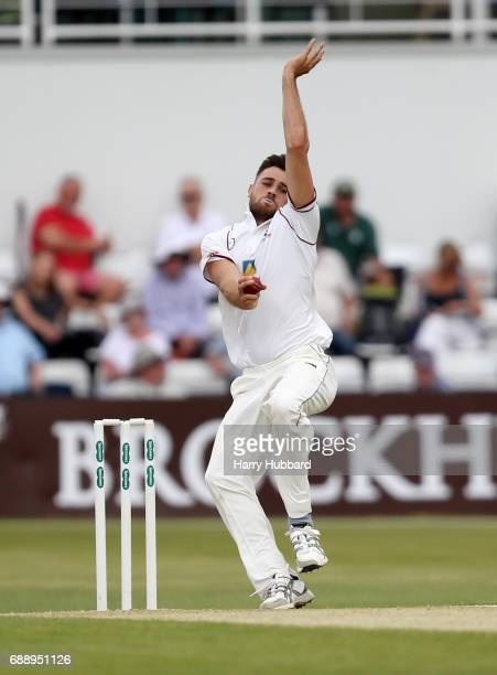 Nathan Buck of Northamptonshire bowls during the Specsavers County Championship division two match between Northamptonshire and Worcestershire at The...