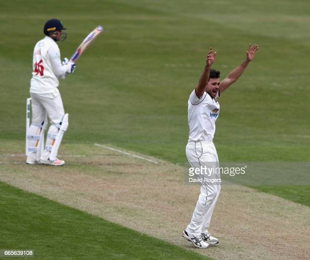 Nathan Buck of Northamptonshire celebrates after taking the wicket of Chris Cooke during the Specsavers County Championship division two match...