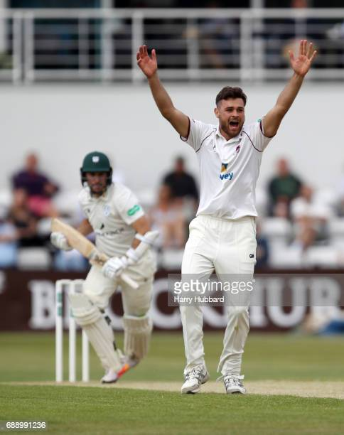 Nathan Buck of Northamptonshire celebrates the wicket of Daryl Mitchell of Worcestershire during the Specsavers County Championship division two...