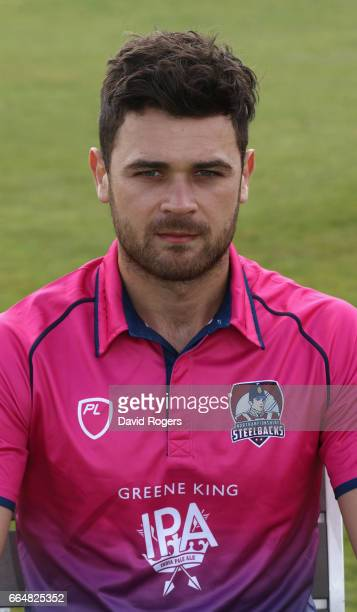Nathan Buck poses in the Royal London OneDay Cup kit during the Northamptonshire County Cricket photocall at The County Ground on April 5 2017 in...