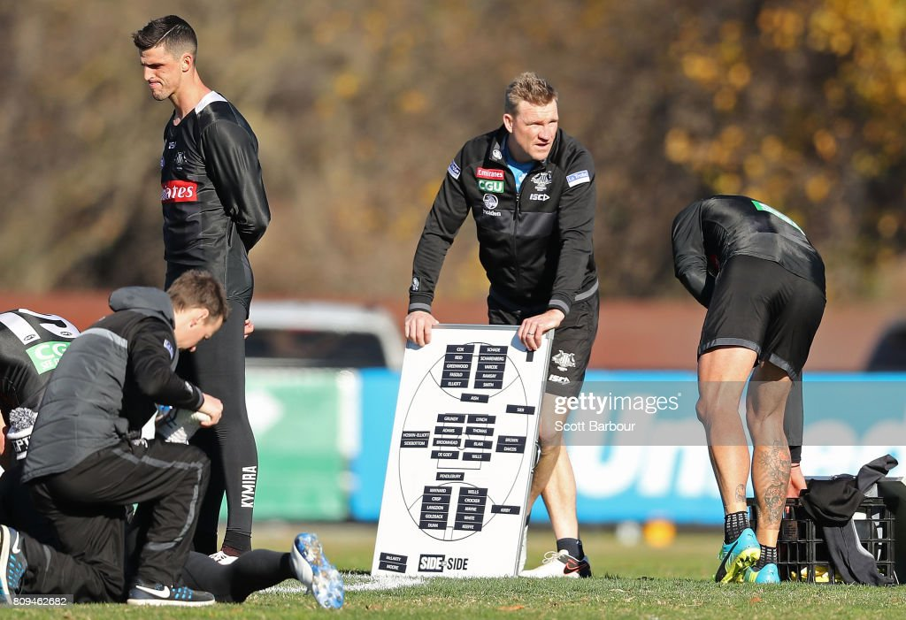 Nathan Buckley, coach of the Magpies and Scott Pendlebury, captain of the Magpies look on during a Collingwood AFL training session at the Holden Centre on July 6, 2017 in Melbourne, Australia.