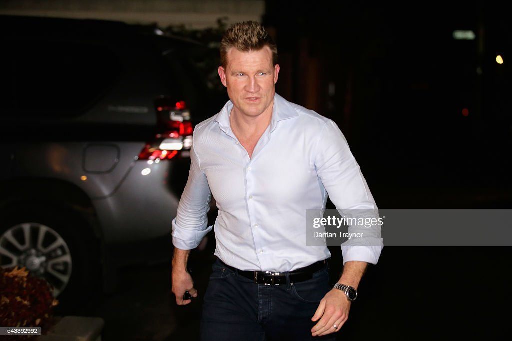 <a gi-track='captionPersonalityLinkClicked' href=/galleries/search?phrase=Nathan+Buckley&family=editorial&specificpeople=176545 ng-click='$event.stopPropagation()'>Nathan Buckley</a>, Senior Coach of the Magpies arrives for an AFL coaches dinner hosted by AFL CEO Gillon McLachlan at his Melbourne home on June 28, 2016 in Melbourne, Australia.