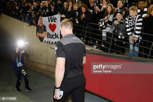 Nathan Buckley Senior Coach of the Magpies walks from the ground after the round 18 AFL match between the Collingwood Magpies and the West Coast...