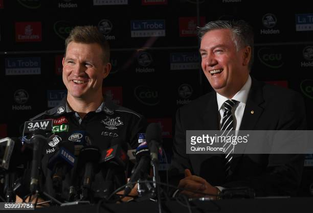 Nathan Buckley the coach and Eddie McGuire the president have a laugh whilst speaking to the media during a Collingwood Magpies AFL press conference...