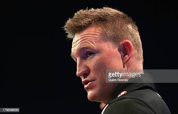 Nathan Buckley the coach of the Magpies speaks to the media during a Collingwood Magpies AFL Finals Series Launch Media Session at Fox Sports on...