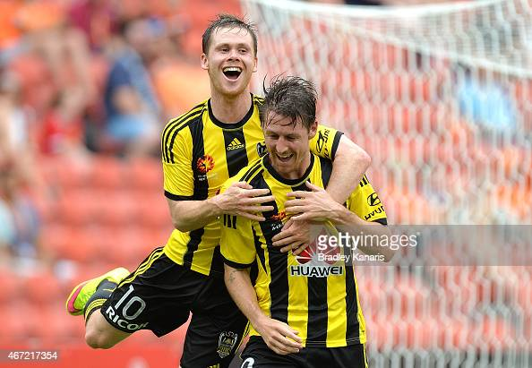 Nathan Burns of Wellington Phoenix celebrates after scoring a goal during the round 22 ALeague match between the Brisbane Roar and the Wellington...