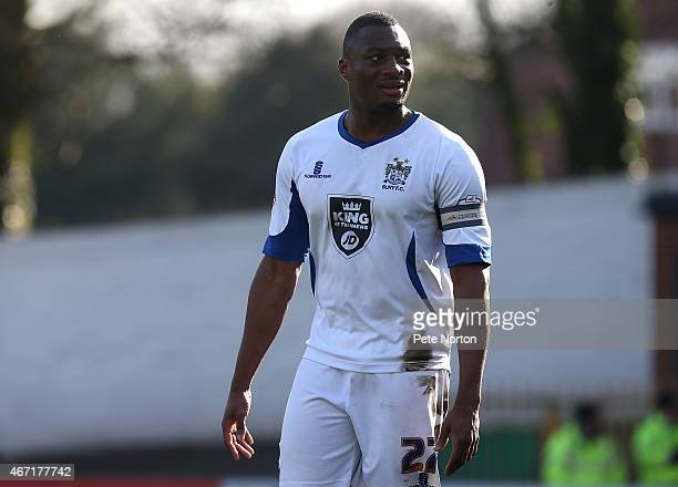 Nathan Cameron of Bury in action during the Sky Bet League Two match between Bury and Northampton Town at The JD Stadium on March 21 2015 in Bury...
