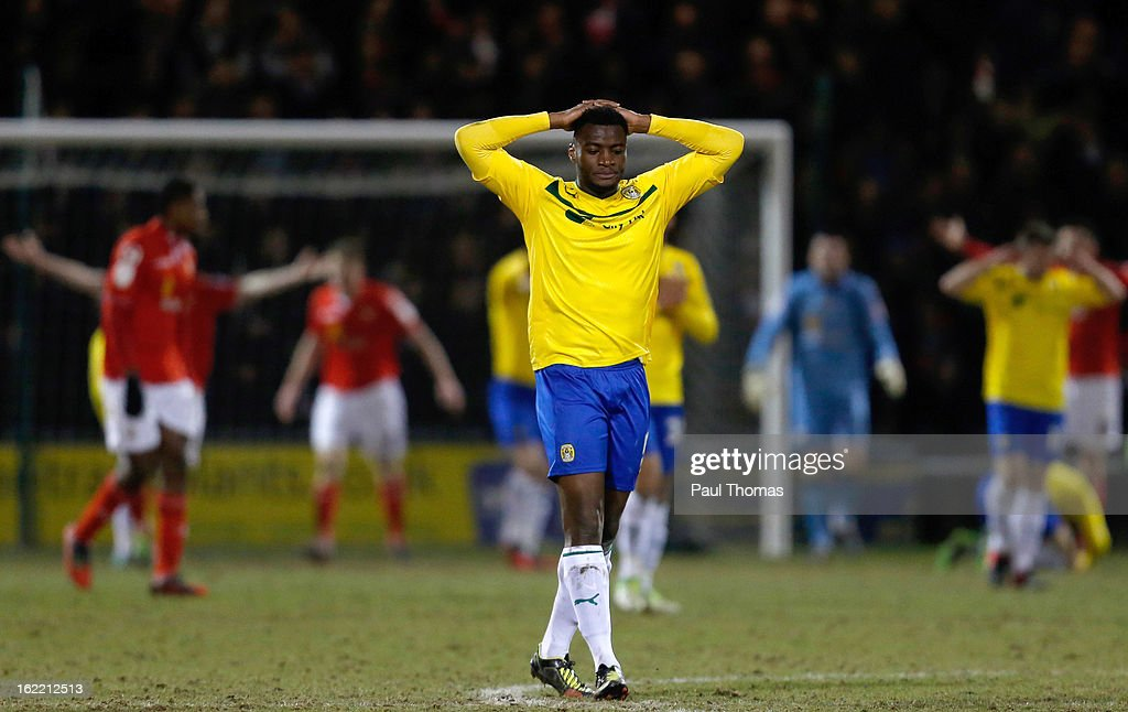 Nathan Cameron of Coventry reacts after his team miss a goal scoring chance during the Johnstone's Paint Trophy Northern Section Final Second Leg match between Crewe Alexandra and Coventry City at the Alexandra Stadium on February 20, 2013 in Crewe, England.