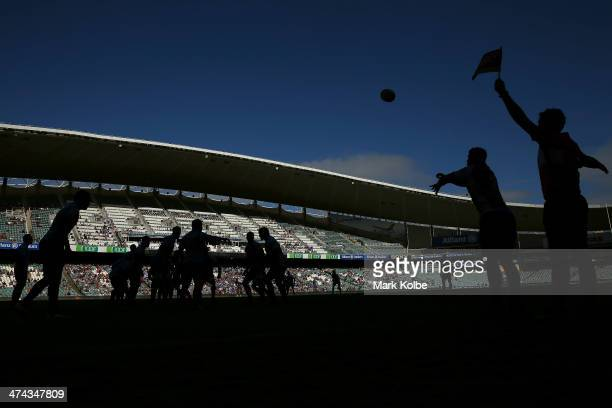Nathan Charles of the Force throws the ball into the lineout during the round two Super Rugby match between the Waratahs and the Western Force at...
