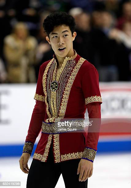 Nathan Chen competes in the Men's Free Skate program during the 2017 US Figure Skating Championships at the Sprint Center on January 22 2017 in...