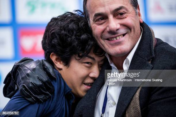 Nathan Chen of the United States reacts at the kiss and cry in the Men's Free Skating during day two of the ISU Grand Prix of Figure Skating...