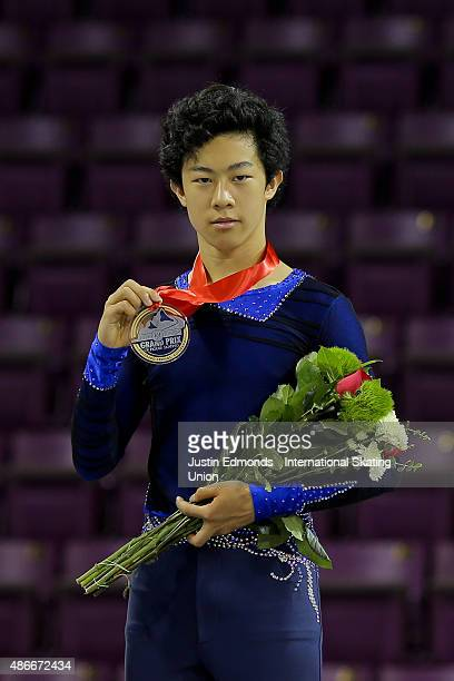 Nathan Chen of United States celebrates after finishing first following the junior mens free skate at World Arena on September 4 2015 in Colorado...