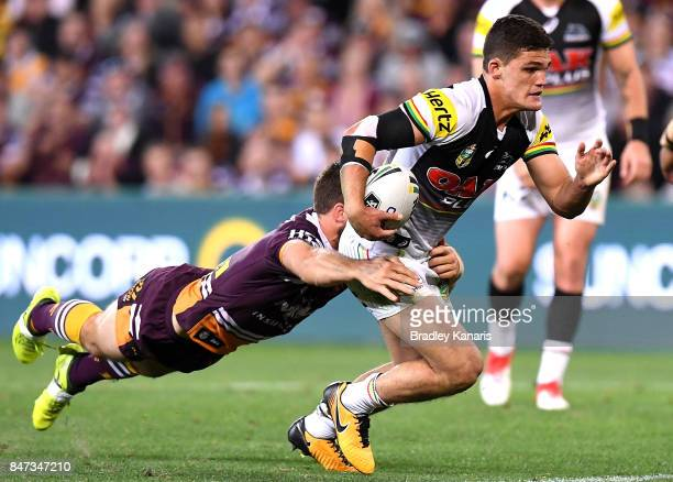 Nathan Cleary of the Panthers attempts to break free from the defence during the NRL Semi Final match between the Brisbane Broncos and the Penrith...