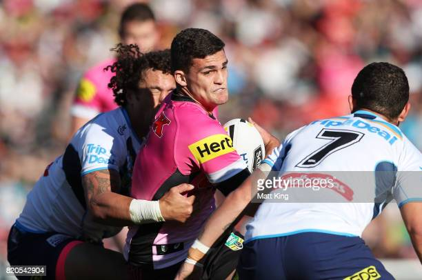 Nathan Cleary of the Panthers is tackled during the round 20 NRL match between the Penrith Panthers and the Gold Coast Titans at Pepper Stadium on...