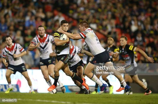 Nathan Cleary of the Panthers is tackled during the round three NRL match between the Penrith Panthers and the Sydney Roosters at Pepper Stadium on...
