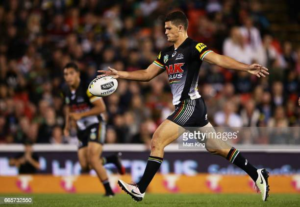 Nathan Cleary of the Panthers kicks during the round six NRL match between the Penrith Panthers and the South Sydney Rabbitohs at Pepper Stadium on...
