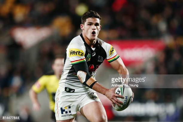 Nathan Cleary of the Panthers makes a run during the round 19 NRL match between the New Zealand Warriors and the Penrith Panthers at Mt Smart Stadium...