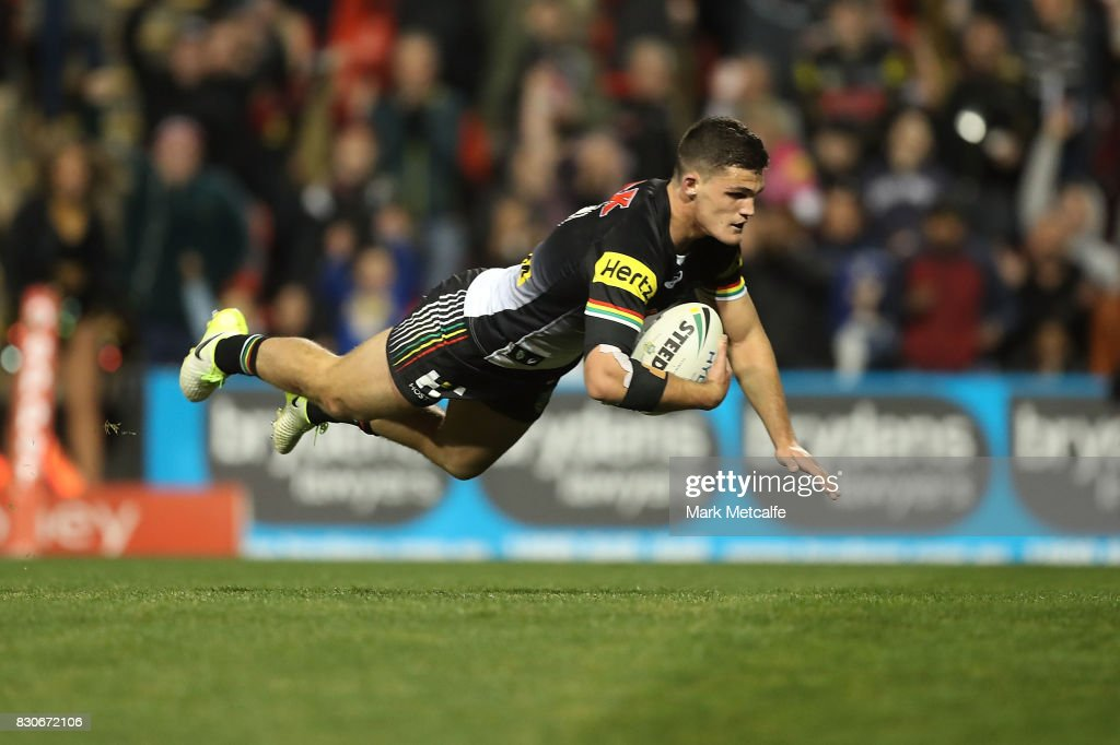 Nathan Cleary of the Panthers scores a try during the round 23 NRL match between the Penrith Panthers and the North Queensland Cowboys at Pepper Stadium on August 12, 2017 in Sydney, Australia.