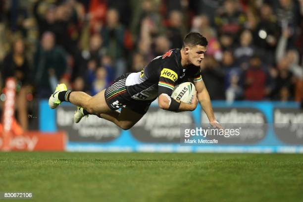 Nathan Cleary of the Panthers scores a try during the round 23 NRL match between the Penrith Panthers and the North Queensland Cowboys at Pepper...