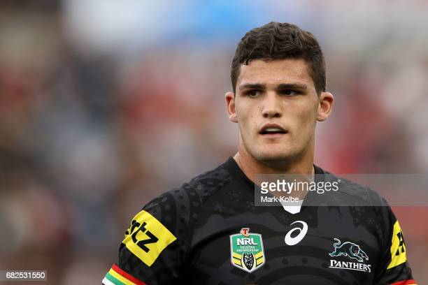Nathan Cleary of the Panthers watches on during the round 10 NRL match between the Penrith Panthers and the New Zealand Warriors at Pepper Stadium on...