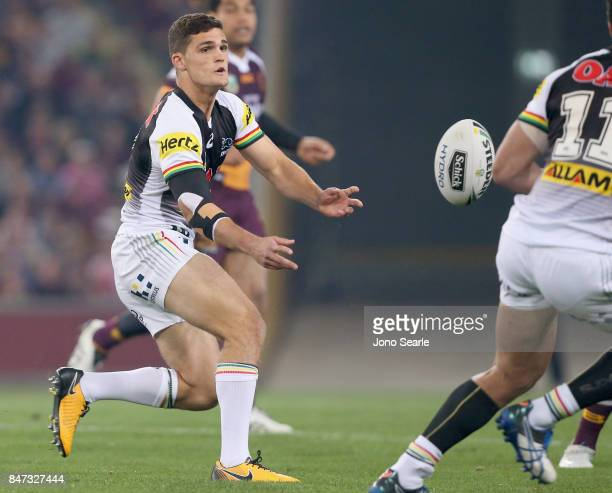 Nathan Cleary passes the ball during the NRL Semi Final match between the Brisbane Broncos and the Penrith Panthers at Suncorp Stadium on September...