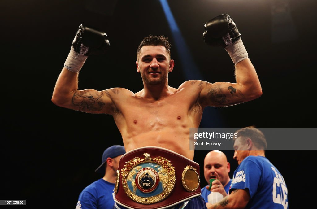 <a gi-track='captionPersonalityLinkClicked' href=/galleries/search?phrase=Nathan+Cleverly&family=editorial&specificpeople=5152922 ng-click='$event.stopPropagation()'>Nathan Cleverly</a> celebrates victory over Robin Krasniqi after their WBO World Light-Heavyweight Championship bout at Wembley Arena on April 20, 2013 in London, England.
