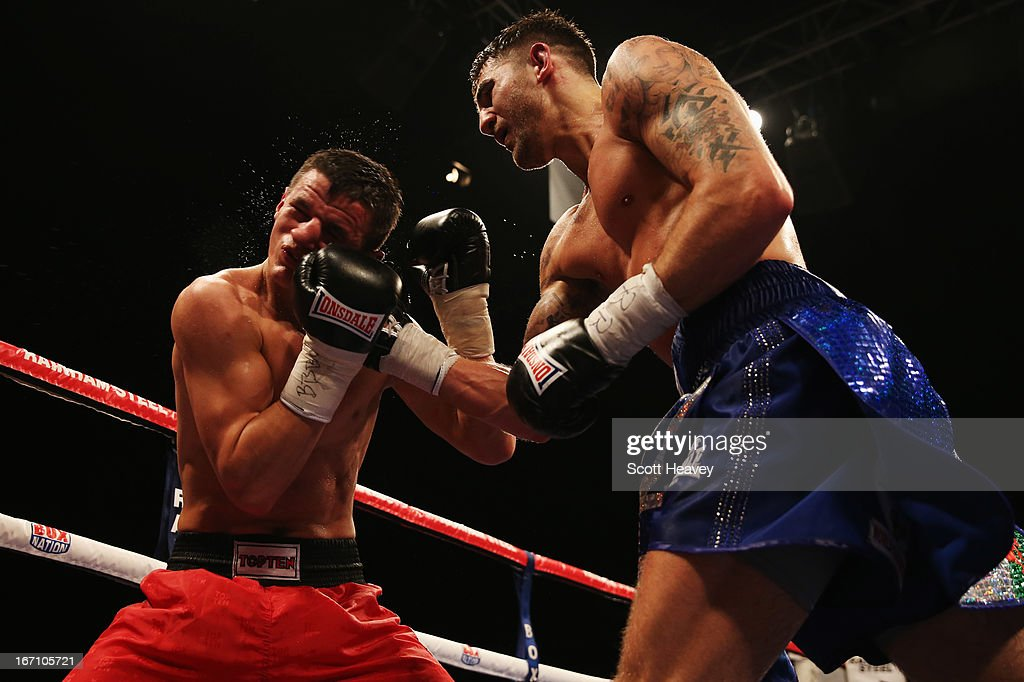 <a gi-track='captionPersonalityLinkClicked' href=/galleries/search?phrase=Nathan+Cleverly&family=editorial&specificpeople=5152922 ng-click='$event.stopPropagation()'>Nathan Cleverly</a> (R) connects with a punch against Robin Krasniqi during their WBO World Light-Heavyweight Championship bout at Wembley Arena on April 20, 2013 in London, England.