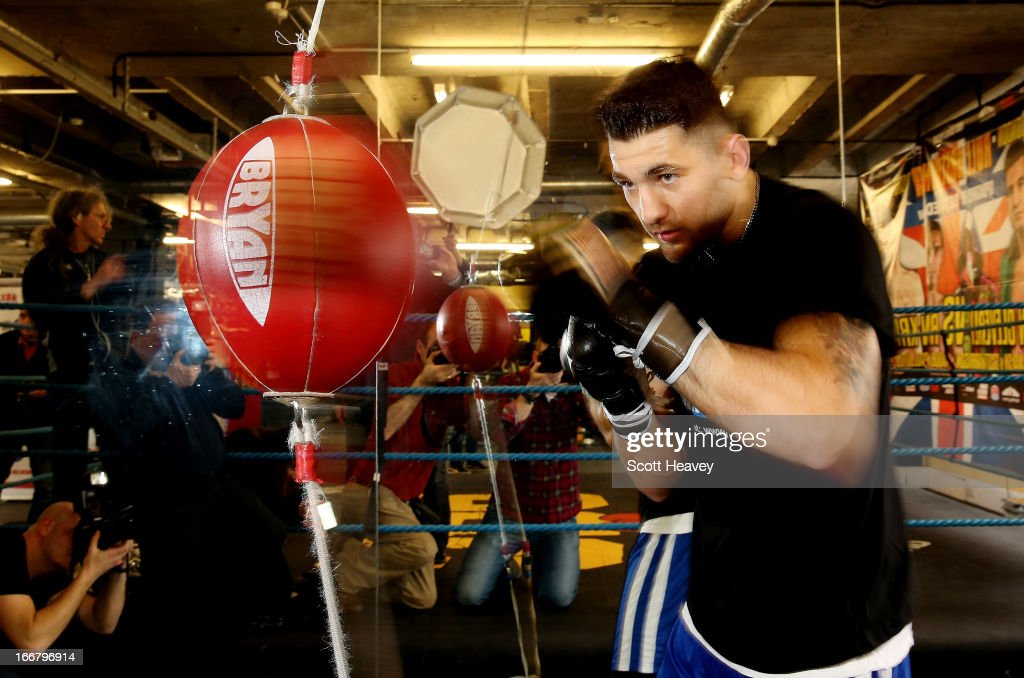 Nathan Cleverly trains during a media workout at the Stonebridge ABC Boxing Gym on April 17, 2013 in London, England.