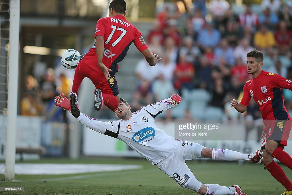 Nathan Coe of Melbourne dives for the ball as Iain Ramsay of Adelaide misses during the round 20 A-League match between Adelaide United and the Melbourne Victory at Hindmarsh Stadium on February 8, 2013 in Adelaide, Australia.