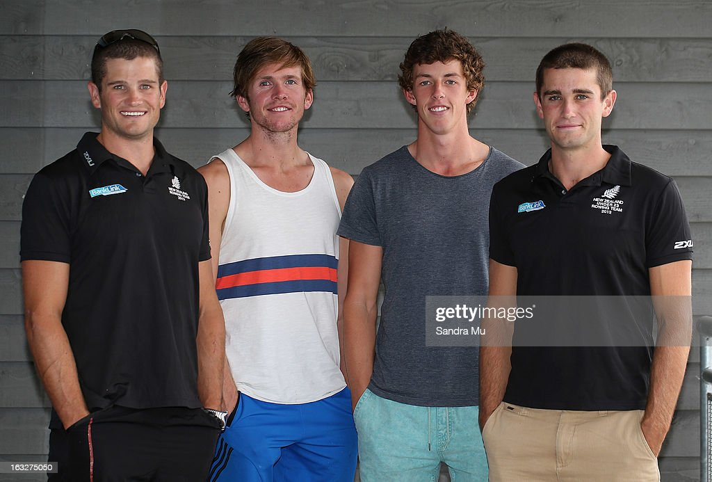 <a gi-track='captionPersonalityLinkClicked' href=/galleries/search?phrase=Nathan+Cohen&family=editorial&specificpeople=1007819 ng-click='$event.stopPropagation()'>Nathan Cohen</a>, Fergus Fauvel, Nathan Flannery and Hayden Cohen pose after being named in the Men's Quad for the New Zealand rowing squad for 2013, at Lake Karapiro on March 7, 2013 in Cambridge, New Zealand.