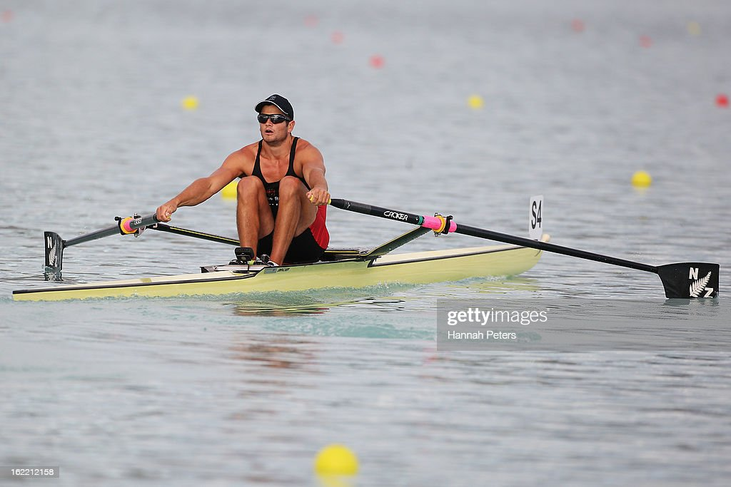 Nathan Cohen of Southern competes in the Men's Premier 1X semifinal during day three of the New Zealand Rowing Championships at Lake Ruataniwha on February 21, 2013 in Wellington, New Zealand.