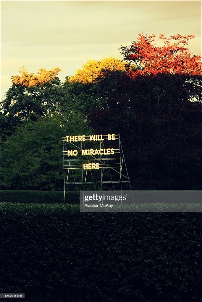 CONTENT] Nathan Coley's anti-religious slogan, in the grounds of the Scottish National Gallery of Modern Art Two, Edinburgh
