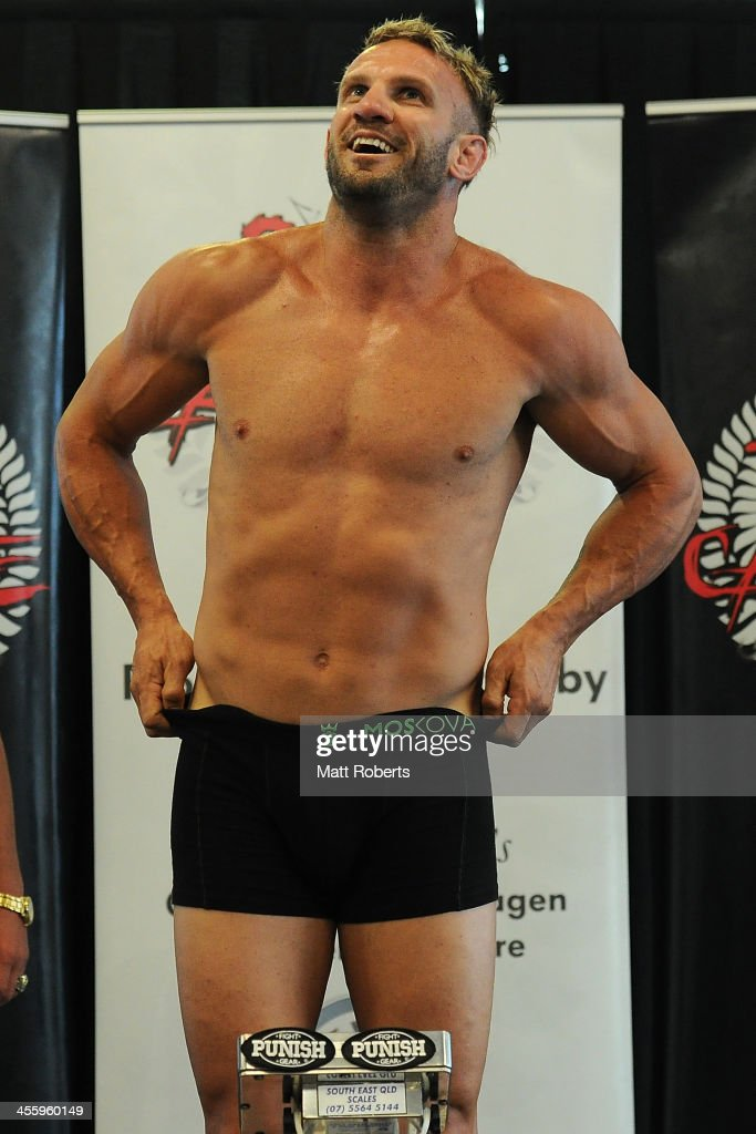 Nathan Corbett fails to make weight on his first attempt during the weighin ahead of Total Carnage IV at the Gold Coast Convention and Exhibition...