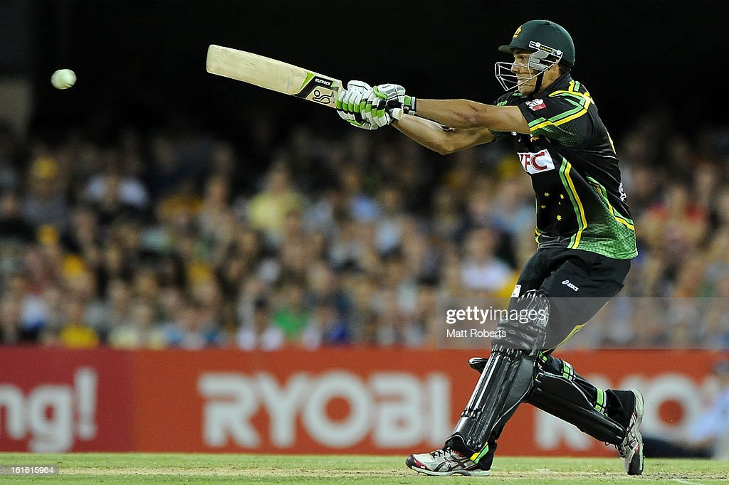 Nathan Coulter-Nile of Australia bats during the International Twenty20 match between Australia and the West Indies at The Gabba on February 13, 2013 in Brisbane, Australia.