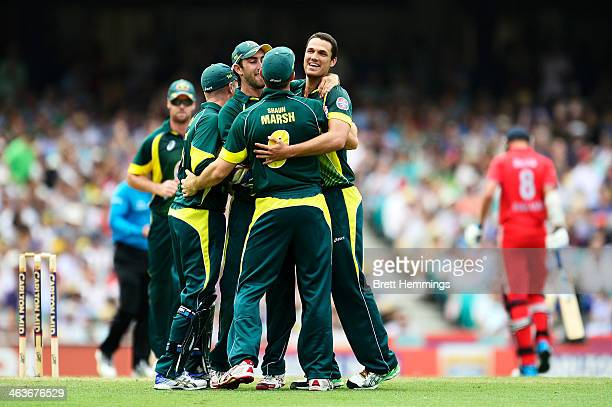 Nathan CoulterNile of Australia celebrates after taking the wicket of Stuart Broad of England during game three of the One Day International Series...