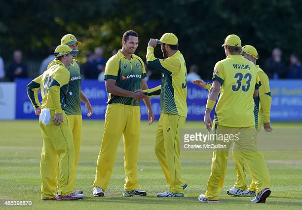 Nathan CoulterNile of Australia takes the wicket of Paul Stirling of Ireland during the ODI cricket game between Ireland and Australia at Stormont...