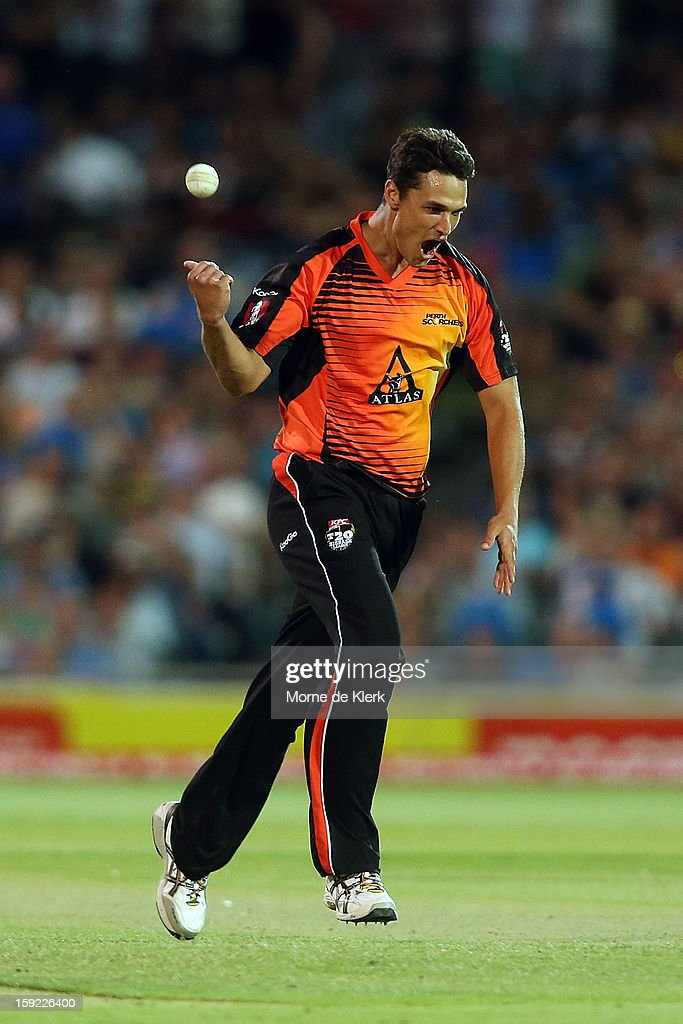 Nathan Coulter-Nile of Perth celebrates after getting a wicket during the Big Bash League match between the Adelaide Strikers and the Perth Scorchers at Adelaide Oval on January 10, 2013 in Adelaide, Australia.