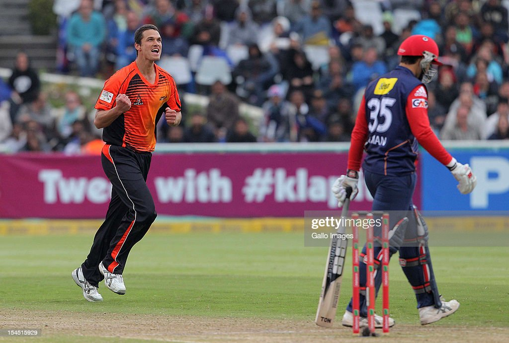 Nathan Coulter-Nile of Perth Scorchers celebrates a wicket during the Champions league twenty20 match between Perth Scorchers and Delhi Daredevils at Sahara Park Newlands on October 21, 2012 in Cape Town, South Africa.